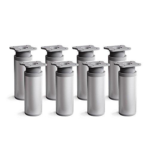 sossai® Design-Möbelfüße MFR1 | höhenverstellbar | 8er Set | Rund-Profil - Ø 40 mm | Farbe: Alu | Höhe: 120mm (+20mm) | Hochwertige Holzschrauben inklusive