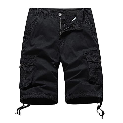 Pantalones Cortos para Hombre Trend All-Match Pure Color Simplicity Casual Outdoor Loose Multi-Pocket Classic Cargo Shorts Verano 38