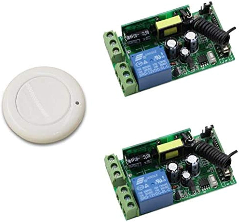 Smart Home AC85V 110V 220V 250V 1CH RF Wireless Remote Switch System Receiver Module & White Wall Panel Sticky Transmitter  (color  2receiver 433mhz)