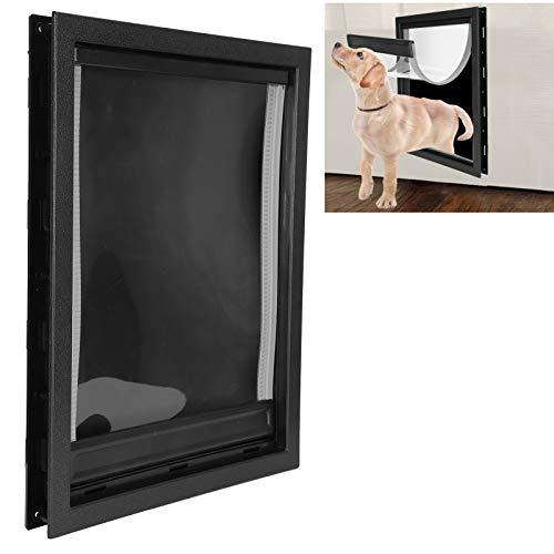 Rodipu Hundetür, Wandhundetür, Kunststoff innen und außen für große Haustiere Einfach zu installierende Haustierversorgung Mittlere Haustiere(Black)