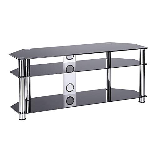 Rfiver Floor Glass Corner TV Stand for TVs up to 60 Inch Flat Panel or Curved Screen TVs with Black Tempered Glass Chrome Legs