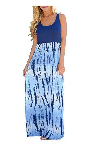 Issza Damen Sommerkleid Lang Kleid Maxikleid Drucken Ärmellos Strandkleid Rundhals High Waist Cocktailkleid Abendkleid Partykleid Navz Blau M