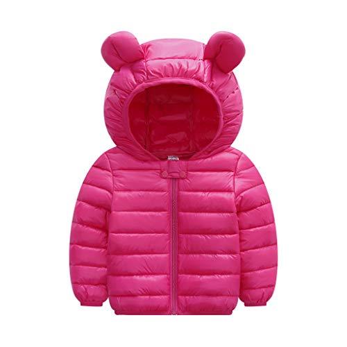 Livoral Kinder Jungen Mädchen Wintermäntel Jacke Kinder Reißverschluss Dicke Ohren Schnee Kapuze Outwear(A-Pink,120)