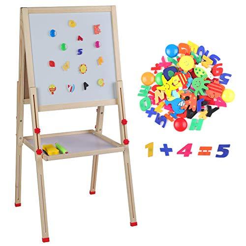 Tableau Chevalet à Dessin Double Face Enfant en Bois Hauteur Réglable, Magnétique/Craie, pour Dessinage Ecriture Education Enfant