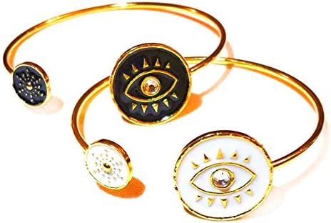 Fashion Jewellery Evil Eye Bracelet For Women Black White Gold Color Plated Bangle Bracelet product image