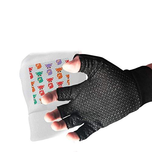 Cute Bright Foxes Fingerless Gloves For Women Anti Slip Shock Gym Gloves For Men Absorbing Padded Breathable Sport Gloves For Gym Split Finger Bike Gloves For Women&men