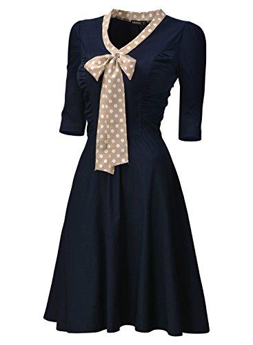 Miusol Damen V-Ausschnitt Schleife Cocktailkleid Faltenrock 50er 60er Jahr Party Stretch-Kleid - 3