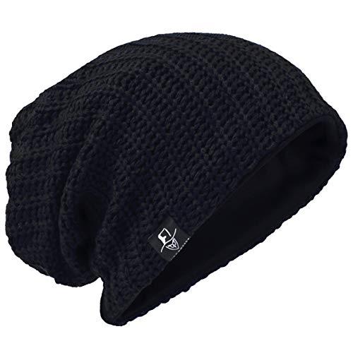 Hombre Gorro de Punto Slouch Beanie Knit Invierno Verano Hat (Acanalado Negro)