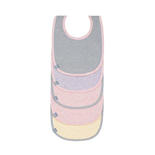 Lässig - Baberos para bebé, juego de 5 unidades, de algodón, con cierre de velcro rosa, amarillo y gris.