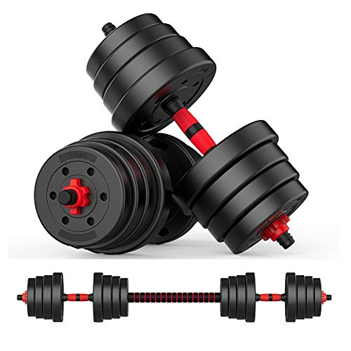 oftoto 44 Lbs Adjustable Dumbbells - Black and Red, Compact Gym Weights, Multiple Weights Set are Prefect for Men and Women do Professional Fitness Training and Warming up Body at Home