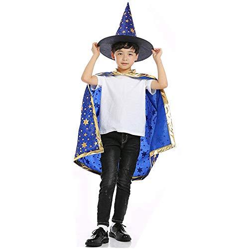 Bambini Halloween Mantello, Halloween Costume Mantello da Mago con Cappello per Bambini, Puntelli di Halloween (Blu)