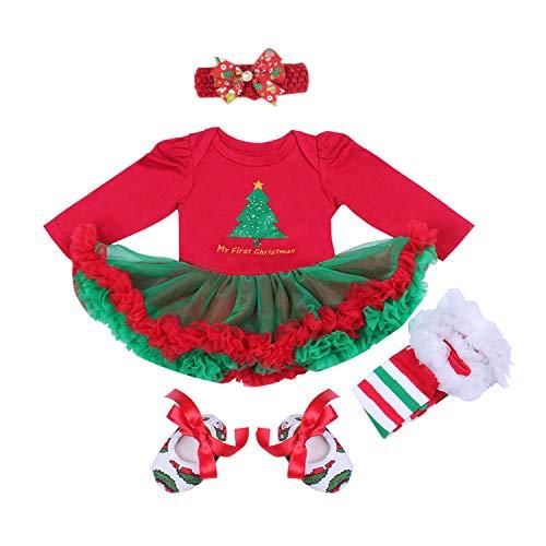 BabyPreg Bebe niña Mi Primera Navidad Vestido de Fiesta de Disfraces de Santa 4PCS (3-6 Meses, Arbol de Navidad Largo)