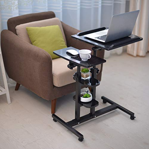 Jeash Rolling Laptop Cart   Mobile Laptop Desk with Wheels   3 Height Adjustable Tilting Bedside Sofa Couch Recliner Tray with Wheels[Ship from USA Directly] (Black)