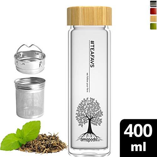 amapodo Teeflasche mit Sieb to go Trinkflasche Glas 400ml doppelwandig mit Bambus Deckel