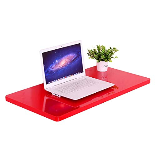 Folding Tables for Small Spaces, Wall Desk For Kitchen Laundry Room Study, Wooden Fold Up Table, Space Saving Easy to Install Wall Mounted Table (Color : Red, Size : 50cm×70cm)