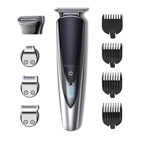 HATTEKER Tondeuse Barbe Tondeuse Cheveux Tondeuse Nez-Oreilles Electrique homme à barbes rasoir Impermeable 5 en 1 Pour Couper Barbe...