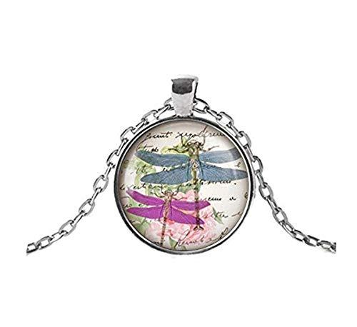 Sunshine Dos collares con colgante de libélula en rosas rosas. Regalos para ella, exquisitos adornos, estilo bohemio