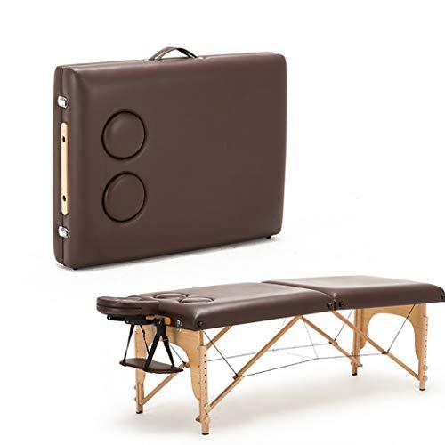 YCDJCS Cama de Mesa de Masaje Portátil 2 Sección Plegable Sofá Cama Ligero Ajustable para Altura Belleza Salón Tatuaje Terapia Sillas y taburetes (Color : Brown, Size : 185 * 70 * 60-85 cm)