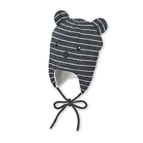 Sterntaler Unisex Mütze mit niedlichem Bärengesicht und abstehenden Öhrchen, Gefüttert mit Baumwoll-Fleece, Alter: 3-4 Monate, Größe: 39, Dunkelgrau (Anthrazit)