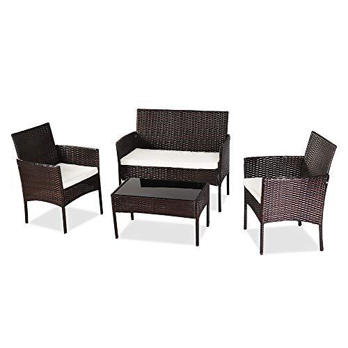 TUIHJA Juego de 4 muebles de patio al aire libre, juegos de mesa de mimbre para mesas de jardín, patio trasero, junto a la piscina