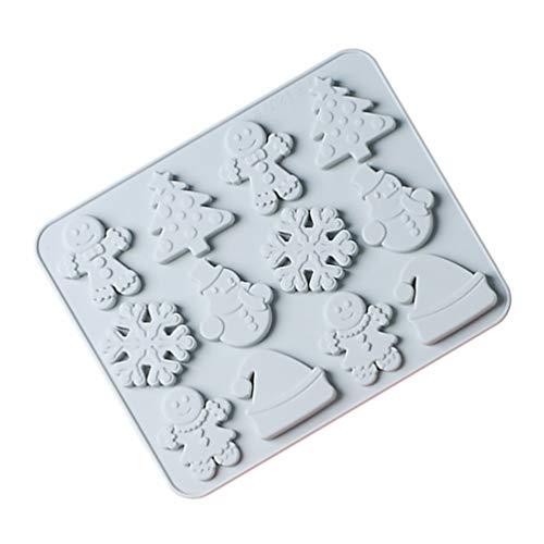 TOYANDONA Weihnachtsform Silikon Backform Lebkuchenmann Schneemann Weihnachtsbaum Schneeflocke Kuchenform für DIY Batseln Kuchen Cupcakes Pudding Süßigkeiten Weihnachten Tortendeko Blau