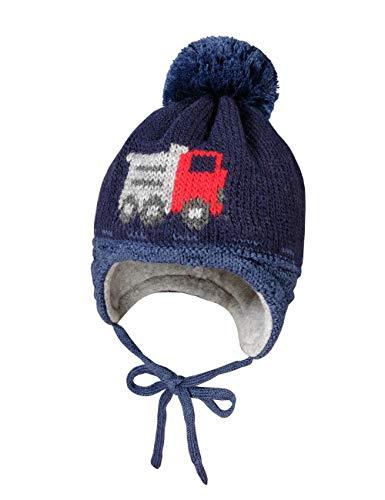 maximo Baby-Jungen mit Lastermotiv und Pompon und Bindeband Mütze, Blau (Indigomel./Navy 448), (Herstellergröße: 49)