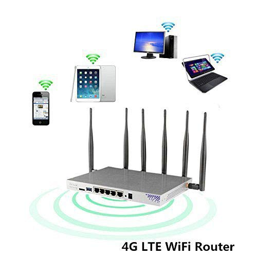 KuWFi OpenWrt 4G LTE Router WiFi para Coche, 1200Mbps 802.11ac Dual Band 4G Router de Antena Externa inalámbrica con MT7621A Chipset Puerto Gigabit Funciona con Tarjeta SIM 3 / EE / O2 / Vodafone
