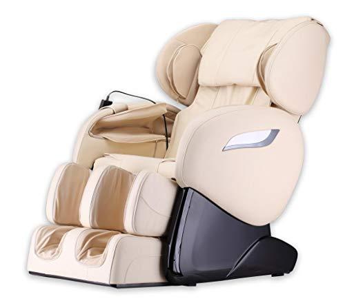 Luxus Massagesessel Shiatsu F2000 Leder beige/creme weiss mit Zero Gravity + Rollentechnik Massage + Heizung + Armmassage Sessel für Wohnzimmer günstig weißer bequemer Fernsehsessel Ledersessel