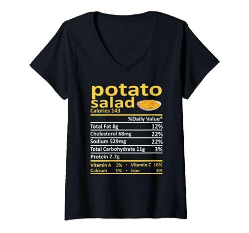 Mujer Patato Salad Nutricin Informacin Alimentaria Disfraz de Accin de Gracias Navidad Camiseta Cuello V