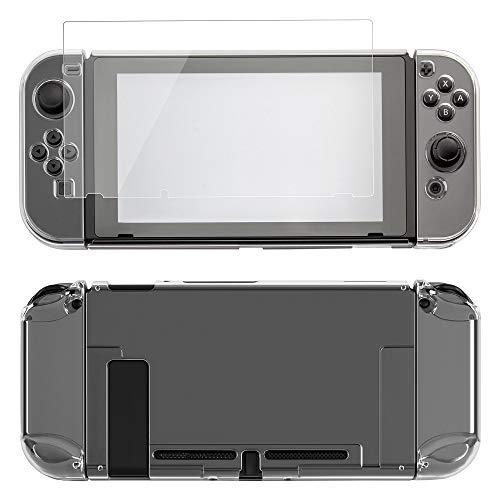 ECENCE Funda protectora ECENCE Hardcase compatible con Nintendo Switch, protección para la consola + mando + protector de pantalla accesorios transparente