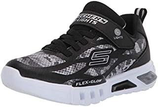Skechers Kids Boys' Flex-Glow-Rondler Sneaker, Black/Grey, 1.5 Medium US Little Kid