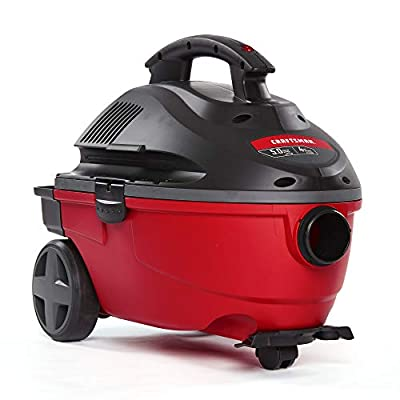 CRAFTSMAN 17612 4 Gallon 5.0 Peak HP Wet/Dry Vac, Portable Shop Vacuum with Attachments, Red (9-17612),Gray