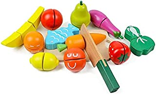 ORiTi Wooden Kitchen Cutting Fruits Vegetables Colorful Baby Puzzle Toys Early Educational Magic Stickers