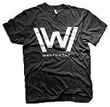 Westworld Oficialmente Licenciado Logo Camiseta para Hombre (Negro), Medium
