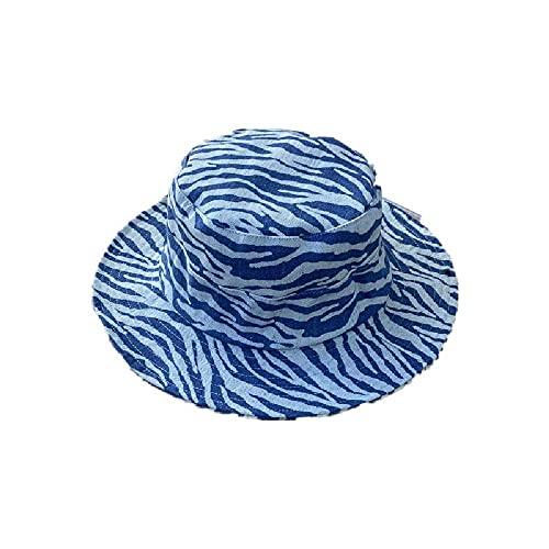 Retro-Mütze, Fischerhut, Weiblich, Sommer, Western-Stil, modisches Straßenschießen, kleines Gesicht, große Krempe, Hut 56-58 cm, Blau