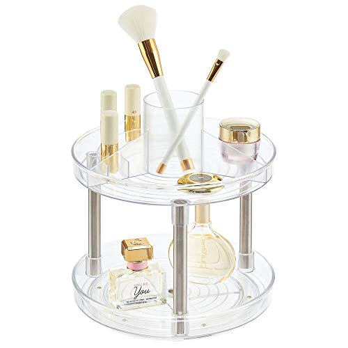 mDesign Spinning 2-Tier Lazy Susan Makeup Turntable Storage Center Tray - Rotating Organizer for Bathroom Vanity Counter Tops, Dressing Tables, Cosmetic Stations, Dressers - Clear