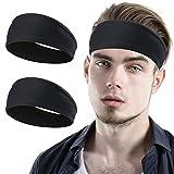 YOSUNPING Sports Headbands & Sweatbands for Men Women and Unisex - Workout Hairbands for Running, Yoga, Tennis, Racquetball, Cross Training, Crossfit, Basketball, Cycling - 2pcs - Black