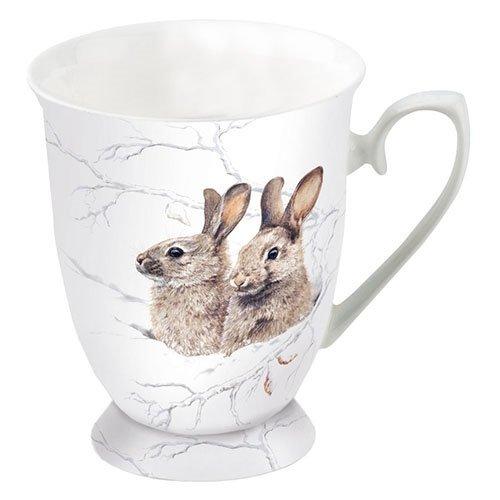 Ambiente Porzellan Becher - Mug - Tasse - Tee/Kaffee Winter Morning - Kaninchen - Winter - Christmas - Weihnachten ca. 0.25L - Ideal Als Geschenk