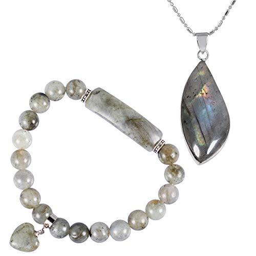 mookaitedecor Collier Labradorite Pendentif Pierre Naturelle Lithothérapie Protection Bracelet Perles Energie Cristal Cœur