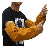 Braccio di saldatura in pelle resistente al calore Manicotto per polsino elastico Lavoro di sicurezza Protezione antiscintilla del braccio