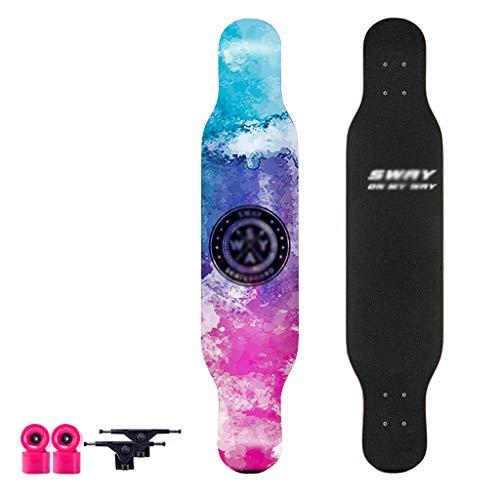 JDH Planche de Danse Long Board Débutant Skateboard Longboards en Bois d'érable pour Adolescents Adultes Débutants Filles Garçons Enfants Skateboard Complet