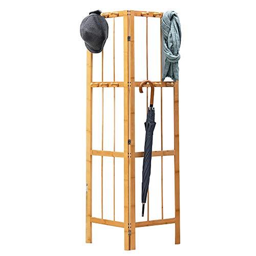 Medla Kleiderständer Bambus, Garderobenständer Klappbar, Kleiderleiter mit 12 Haken, für Schuhe, Hüte Schals, im Flur, Wohnzimmer Gästezimmer oder Ecke