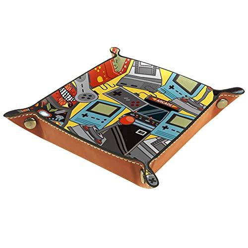 Bandeja de PU Cuero, Almacenamiento Organizador para Joyas, Caja Relojes, Llaves, Monedas, Teléfonos, Cartera, Moneda Icono de entretenimiento de consola de juegos