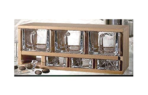 Schüttenkasten Holz inkl. 7 Vorrats- bzw Gewürzschütten - Schüttenregal T29 Schüttenkasten Fronten Bleikristall klar