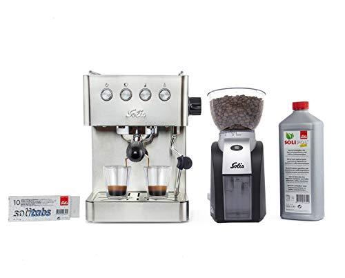 Solis Espressomaschine, Kaffeemaschine mit Mahlwerk, Dampf- und Heißwasserfunktion, 1,7 l Wassertank, Edelstahl, Barista Gran Gusto + Solis Elektrische Kaffeemühle + 10er Packung Solitabs + 1L Solipol