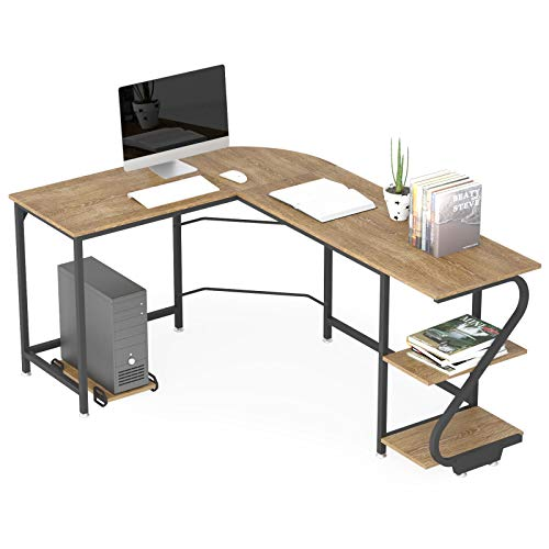 WeeHom Reversible L Shaped Desk with Shelves Modern Corner Computer Desks for Home Office Wooden Study Writing Gaming Table