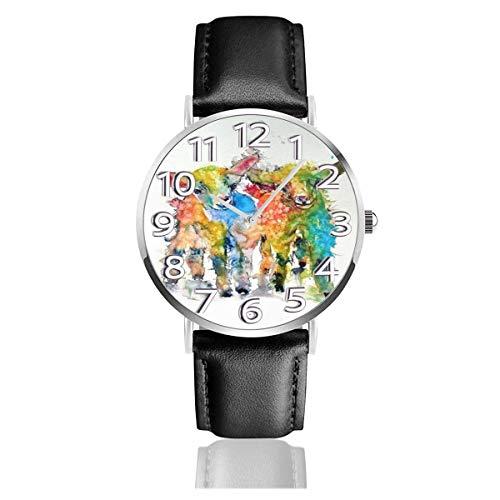 Reloj de Pulsera Cute Baby Goats Durable PU Correa de Cuero Relojes de Negocios de Cuarzo Reloj de Pulsera Informal Unisex