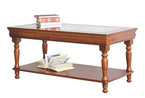 Rechteckiger Tisch Louis Philippe mit Glasplatte