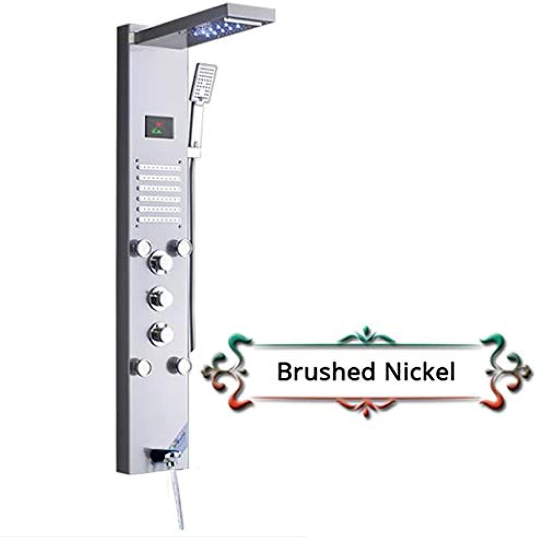 Shower system Nickel gebürstet Regen Wasserfall Dusche Panel Wasserhahn LED-Licht Krper Massagedüsen Dusche Wasserhahn Messing Badewanne Auslauf Dusche Sule