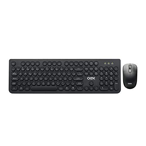 Kit Teclado e Mouse Wireless Sem Fio Combo Pop OEX TM410, Preto